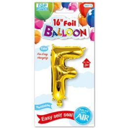 96 Units of Sixteen Inch Balloon Gold Letter F - Balloons & Balloon Holder