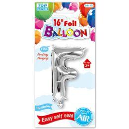 96 Units of Sixteen Inch Balloon Silver Letter F - Balloons & Balloon Holder