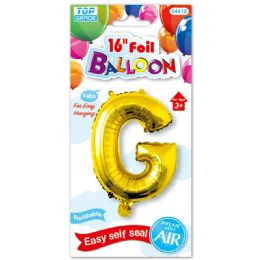 96 Units of Sixteen Inch Balloon Gold Letter G - Balloons & Balloon Holder