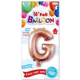 96 Units of Sixteen Inch Balloon Rose Gold Letter G - Balloons & Balloon Holder