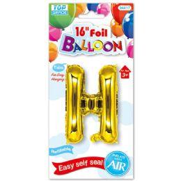 96 Units of Sixteen Inch Balloon Gold Letter H - Balloons & Balloon Holder