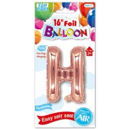 96 Units of Sixteen Inch Balloon Rose Gold Letter H - Balloons & Balloon Holder
