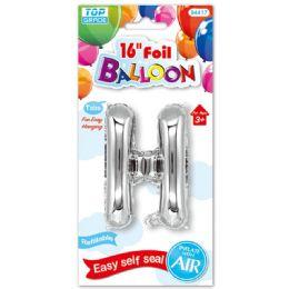 96 Units of Sixteen Inch Balloon Silver Letter H - Balloons & Balloon Holder