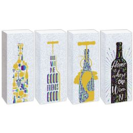 144 Units of Wine Bag Glitter And Hot Stamping - Gift Bags Hologram