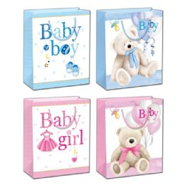 144 Units of Baby Bag Glitter Medium - Gift Bags Baby