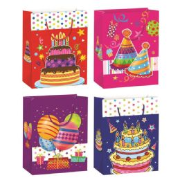 72 Units of Birthday Glitter Gift Bag Extra Large - Gift Bags Assorted