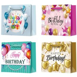 144 Units of Birthday Bag Glitter - Gift Bags Assorted