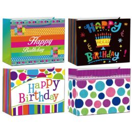144 Units of Birthday Glitter Gift Bag - Gift Bags Assorted