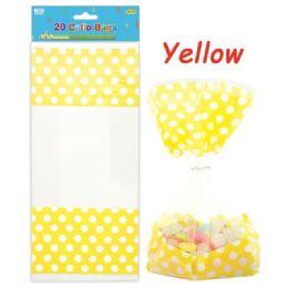 96 Units of Twenty Count Polka Dot Loot Bag Yellow - Party Favors