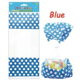 96 Units of Twenty Count Polka Dot Loot Bag Dark Blue - Party Favors