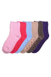 120 Units of Solid Color Ladies' Fuzzy Socks with Anti Skid Assorted - Womens Fuzzy Socks