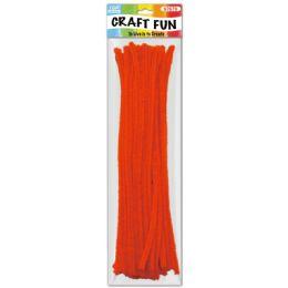 96 Units of Twelve Inch Tinsel Stem Orange - Craft Stems