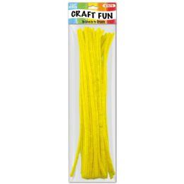 96 Units of Twelve Inch Tinsel Stem Yellow - Craft Stems