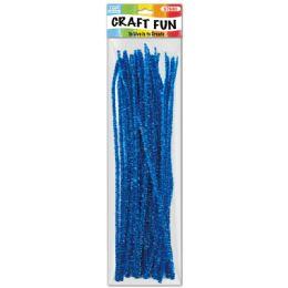 96 Units of Twelve Inch Tinsel Stem Blue - Craft Stems