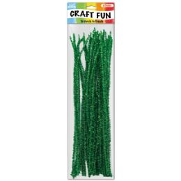 96 Units of Twelve Inch Tinsel Stem Green - Craft Stems