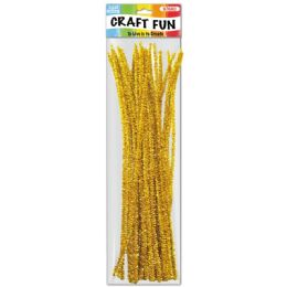 96 Units of Twelve Inch Tinsel Stem Yellow - Craft Stems