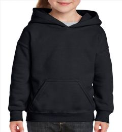 24 Units of Youth Gildan Irregular Black Hooded Pullover, Size Large - Boys Sweaters