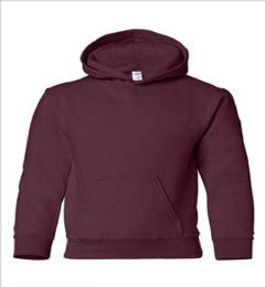 24 Units of Youth Gildan Irregular Maroon Color Hooded Pullover, Size Small - Boys Sweaters