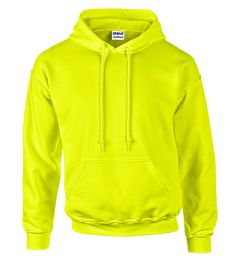 12 Units of Gildan Irregular Safety Yellow Hooded Pullover, Size Large - Mens Sweat Shirt