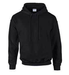 24 Units of Unisex Gildan Irregular Black Hooded Sweatshirt, Size S - Mens Sweat Shirt