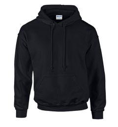24 Units of Unisex Gildan Irregular Black Hooded Sweatshirt, Size L - Mens Sweat Shirt