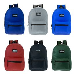 "24 Units of 17"" Kids Classic Backpack In 6 Solid Colors - Backpacks 17"""
