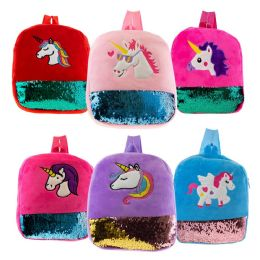 "24 Units of 12"" Plush Unicorn Kids Backpack in 6 Assorted Colors - Backpacks 15"" or Less"