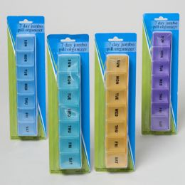 48 Units of Pill Organizer Jumbo 7 Days 9x2x1 4 Colors Plastic Hba Blister Card - Pill Boxes and Accesories