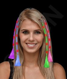 36 Units of Led Light Up Braided Hair Extensions - Assorted - LED Party Supplies