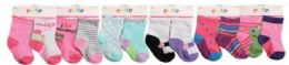144 Units of Toddler Girls Crew Socks Size 6-12 Months - Girls Crew Socks