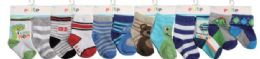 144 Units of Toddler Boys Crew Socks Size 6-12 Months - Boys Crew Sock