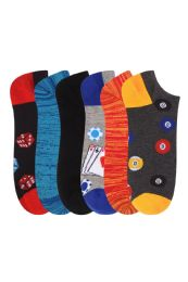 360 Units of Men's Fashion No Show Novelty Socks Size 10-13 - Mens Ankle Sock