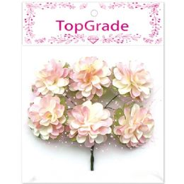 96 Units of Decorative Paper Flower Pink - Artificial Flowers