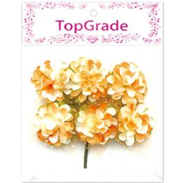 96 Units of Decorative Paper Flower Orange - Artificial Flowers