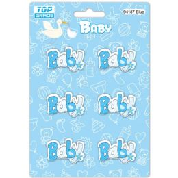 96 Units of Wooden Decoration Baby Blue Letter Baby - Baby Shower