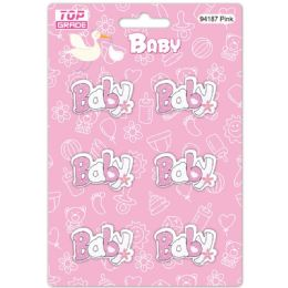 96 Units of Wooden Decoration Baby Pink Letter Baby - Baby Shower