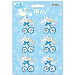 96 Units of Wooden Decoration Baby Blue Stroller - Baby Shower