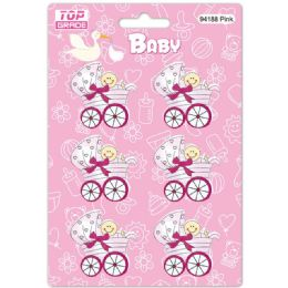 96 Units of Wooden Decoration Baby Pink Stroller - Baby Shower