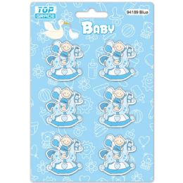 96 Units of Wooden Decoration Baby Blue Horse - Baby Shower