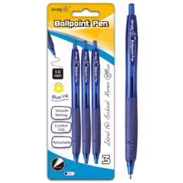 96 Units of Three Count Retractable Ballpoint Pen Blue With Grip - Pens