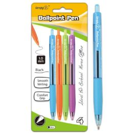 96 Units of Four Pack Retractable Ballpoint Pens Black - Pens