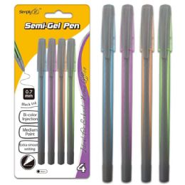 96 Units of Four Count Semi Gel Pen Black With Grip - Pens