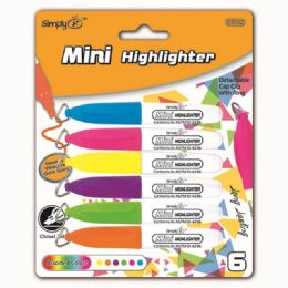 144 Units of Six Count Mini Highlighters Markers With Clips - Highlighter