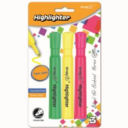 96 Units of Three Count Jumbo Highlighter Assorted - Markers and Highlighters