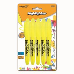 96 Units of Five Piece Highlighter Yellow - Markers and Highlighters