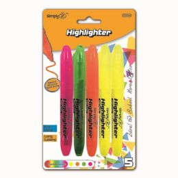 96 Units of Five Piece Highlighter Assorted Color - Markers and Highlighters