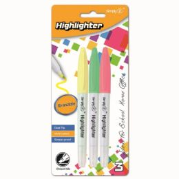 96 Units of Dual Tip Erasable Highlighter Three Count - Markers and Highlighters