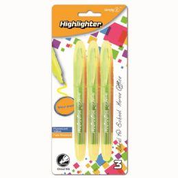 96 Units of Three Count Highlighter Yellow - Markers and Highlighters