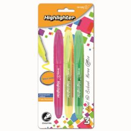 96 Units of Three Count Highlighter Assorted Color - Markers and Highlighters