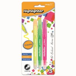 96 Units of Three Count Erasable Highlighter - Markers and Highlighters